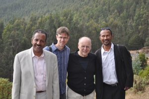 Dhaba, me, Steve G., and Tesfaye at Mount Entoto in Ethiopia